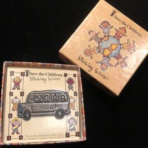 Sterling Silver Save the Children School Bus Pin